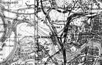 Казармы рядом со станцией Пресня на карте РККА 1941 г.