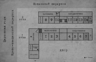 The organization of the escape of 13 political prisoners in 1909. With an addendum by B. Kalashnikov // Hard labor and Exile, no. 7 (56), 1929. C. 91. Design by A. Barbe. The cross-hatched sections of the plan are missing in the source and were added, presumably, to the published image (above) of the facade of the prison building. Photo: Morchadze I. (Koridze S.)