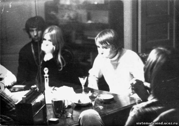 "Yuri Burakov (""Solnyshko"") with his friends, 1969."