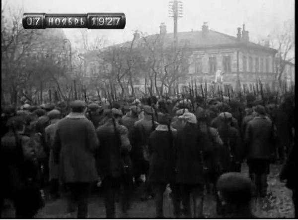 Column of demonstrators on November 7, 1927