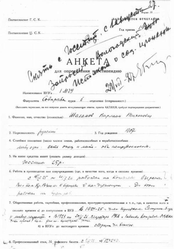 Shalamov's form. Photo: shalamov.ru