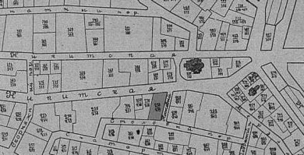 "Location of the police house 258/239, darkened. Source: ""Vsya Moskva,"" 1904"