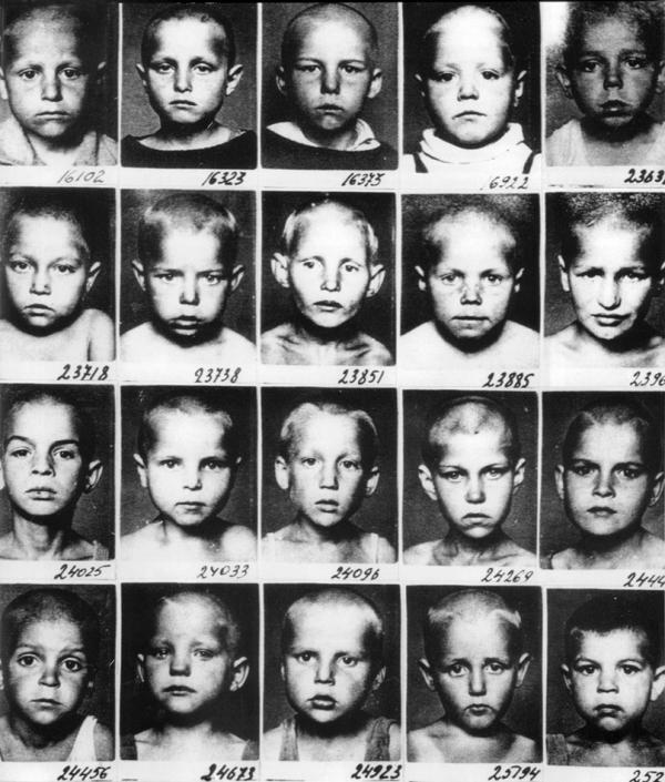 """Portraits of so-called removed children from families of """"state traitors."""" The photograph is from a special orphanage of the Narkompros (Ministry of Education). Source: Children of the Gulag 1918-1957"""