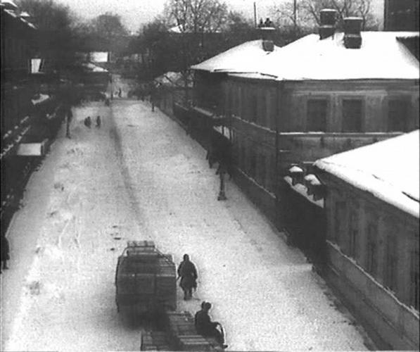 View of Gendrikov Lane. Mayakovsk's house is on the right. Photo: PastVu