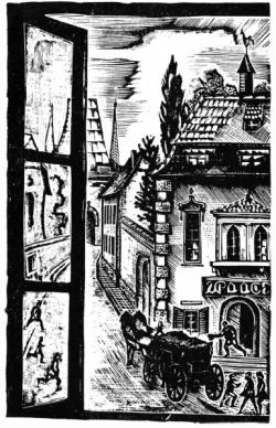 Л. С. Хижинский. Иллюстрация к «Новеллам» Г. Келлера. Источник: «Academia». 1922–1937. Выставка изданий и книжной графики. М.: Книга, 1980